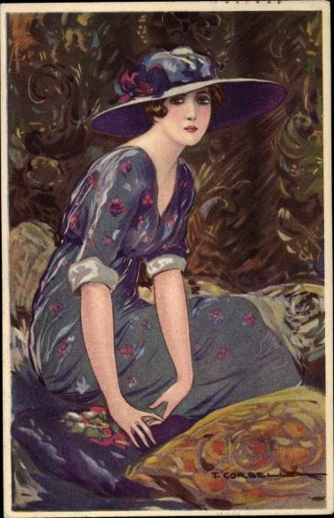 Künstler Ak Corbella, T., Junge Frau in modischem Kleid, Damenhut