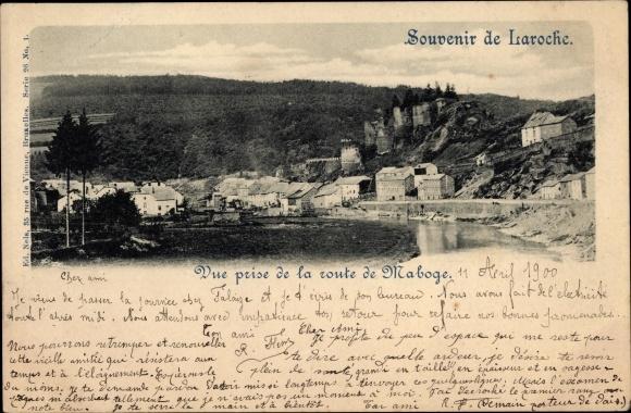 Ak La Roche en Ardenne Wallonien Luxemburg, Vue prise de la route de Maboge