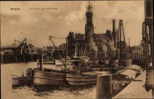 Ak Hansestadt Bremen, Freihafen und Hafenhaus, Schiff Arco III.