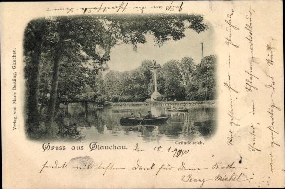 Ak Glauchau an der Zwickauer Mulde in Sachsen, Partie am Gründelteich