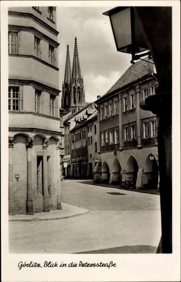 Ak Görlitz in der Lausitz, Blick in die Petersstraße