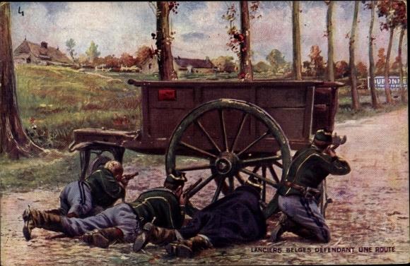 Künstler Ak Lanciers belges défendant une route, Belgische Soldaten, Dubonnet