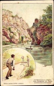 Litho Les Merveilles de la Nature, Les Gorges du Tarn, Joueurs de Boules Aveyronnais