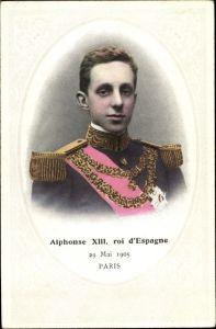 Ak König Alfons XIII. von Spanien, Portrait, Staatsbesuch in Paris am 29. Mai 1905