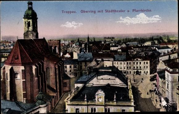 Ak Opava Troppau Reg. Mährisch Schlesien, Oberring mit Stadttheater und Pfarrkirche