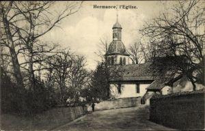 Ak Hermance Kt. Genf Schweiz, L'Eglise, Die Kirche von der Straße gesehen