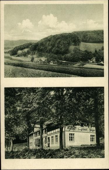 Ak Glesse Ottenstein Niedersachsen, Gasthof zum grünen Jäger von Chr. Wiedbraut, Umgebung