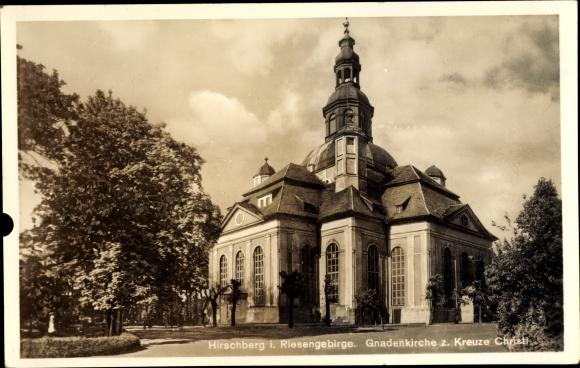 Ak Jelenia Góra Hirschberg Riesengebirge Schlesien, Gnadenkirche zum Kreuze Christi