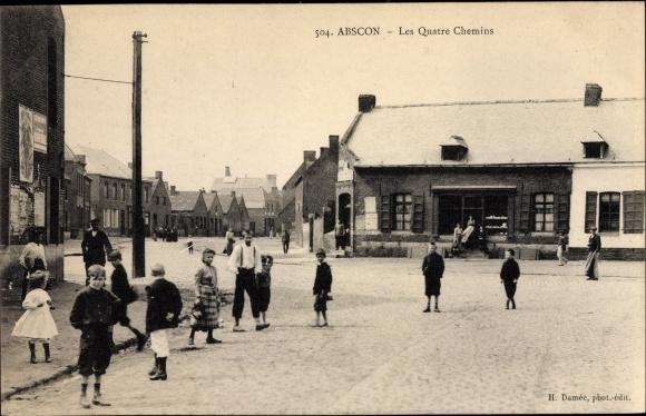 Ak Abscon Nord, Les Quatre Chemins, Straßenpartie