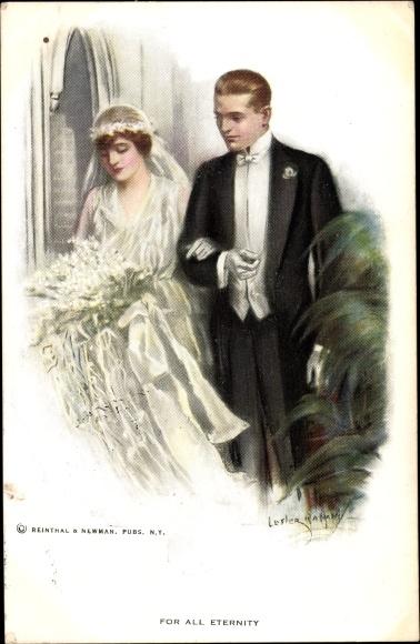 Künstler Ak Lester, Ralph, For all eternity, Brautpaar, Hochzeitskleid