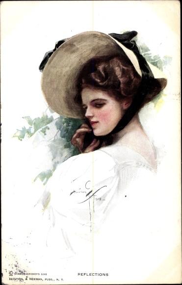 Künstler Ak Fisher, Harrison, Frauenportrait, Damenhut
