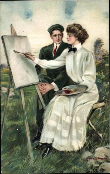 Künstler Ak Underwood, Clarence, Paar auf einer Wiese, Frau an einer Staffelei