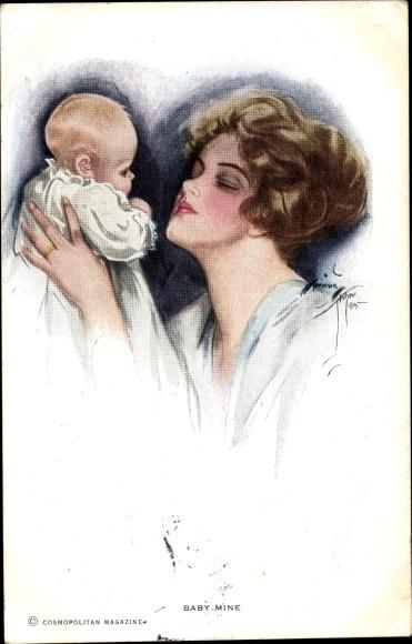 Künstler Ak Fisher, Harrison, Mutter mit Kleinkind
