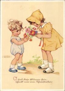 Künstler Ak Lungershausen, Ilse Wende, Mädchen in gelbem Kleid, Blumenstrauß