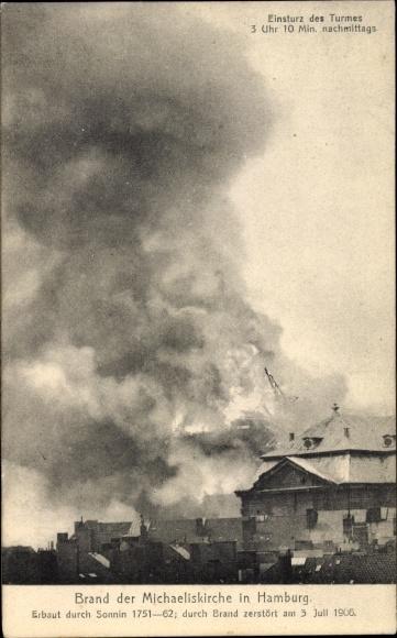 Ak Hamburg, Brand der grossen Michaeliskirche am 3. Juli 1906