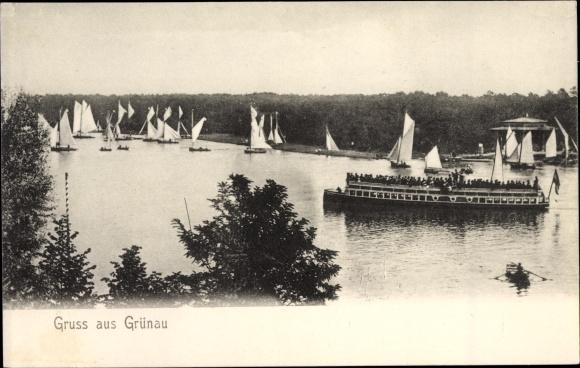 Ak Berlin Köpenick Grünau, Ausflugsdampfer und Segelboote auf der Dahme