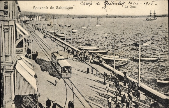 Ak Thessaloniki Griechenland, Le Quai, Straßenbahn