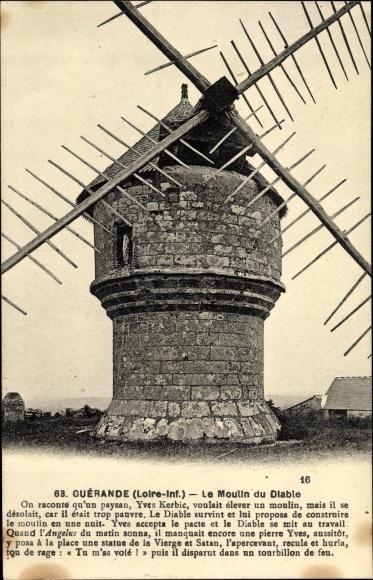 Ak Guérande Loire Atlantique, Le Moulin du Diable, Windmühle, Teufelsmühle