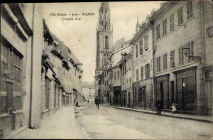 Ak Thann Elsass Haut Rhin, Grande'Rue, Straßenpartie