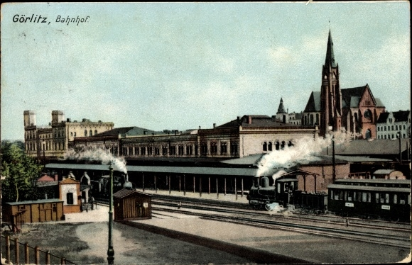 Ak Görlitz in der Lausitz, Bahnhof, Gleisseite