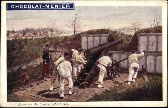 Künstler Ak Exercice du Canon, Infanterie, Französische Soldaten an einem Geschütz, Chocolat Menier