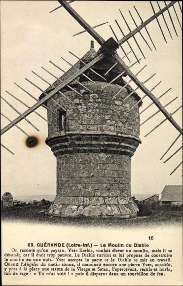 Ak Guérande Loire Atlantique, Vue du Moulin du Diable