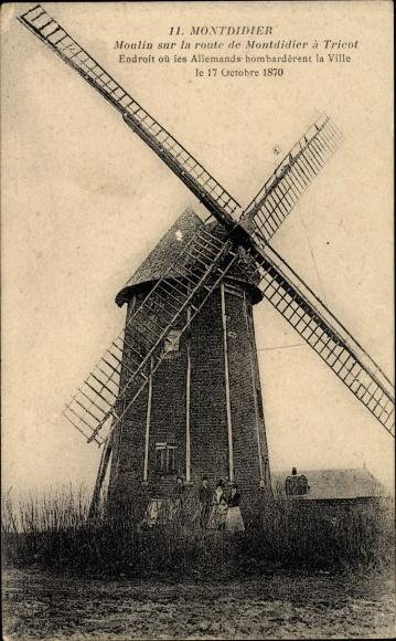 Ak Montdidier Somme, Vue du Moulin sur la Route de Montdidier a Tricot