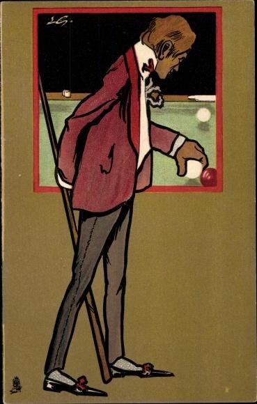 Künstler Litho Billard Spieler am Spieltisch