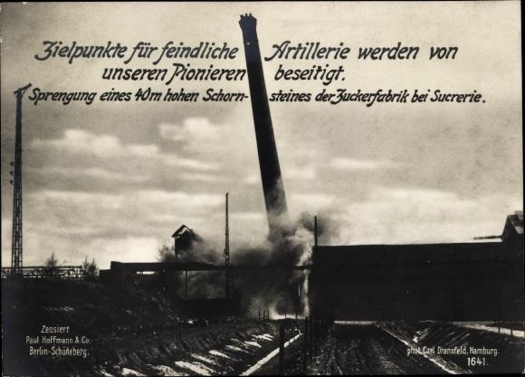 Ak Sprengung eines Schornsteines der Zuckerfabrik, Pioniere, Paul Hoffmann & Co. 1641