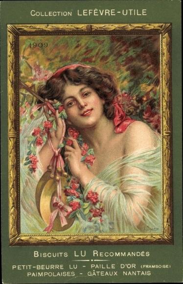 Künstler Ak Collection Lefèvre Utile, Biscuits LU, 1909, Portrait einer Frau