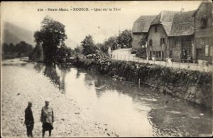 Ak Moosch Elsaß Elsass Haut Rhin, Quai sur la Thur