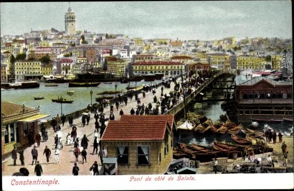 Ak Konstantinopel Istanbul Türkei, Pont de côté de Galata, Brücke