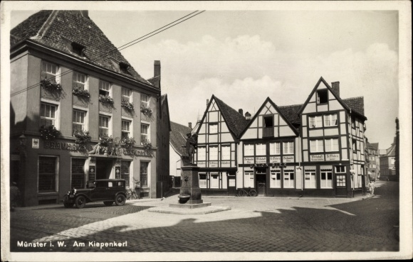 Ak Münster in Westfalen, Kiepenkerl Denkmal, Brauhaus, Stadtansicht