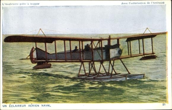 Ak Un èclaireur aérien naval, L'Angleterre prête à trappe, Wasserflugzeug