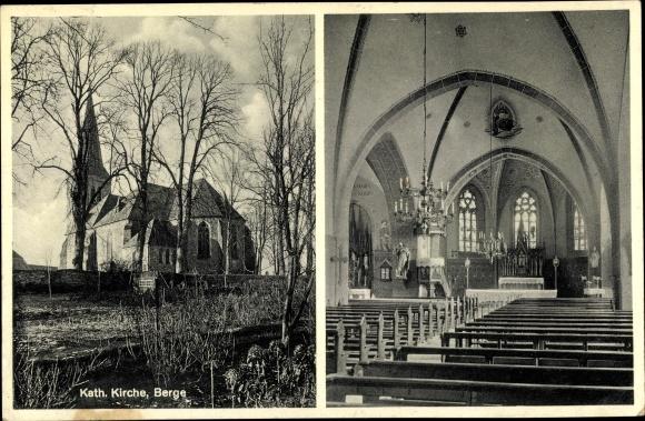 Ak Berge in Niedersachsen, Blick auf die katholische Kirche, Innenansicht