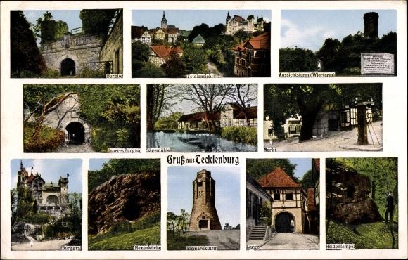 Ak Tecklenburg in Nordrhein Westfalen, Bismarckturm, Burggraf, Sägemühle, Heidentempel, Hexenküche