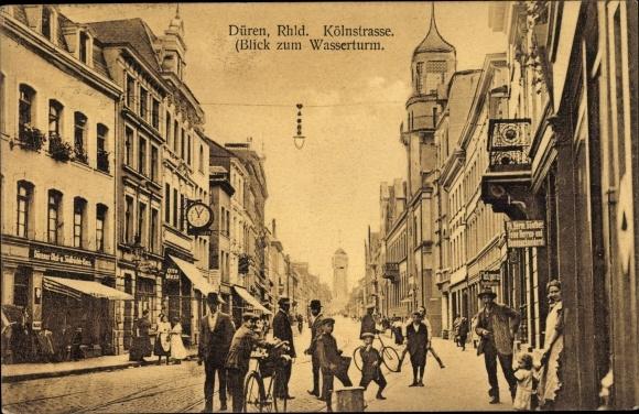 Ak Düren in Nordrhein Westfalen, Kölnstraße, Blick zum Wasserturm, Geschäft Otto Mess