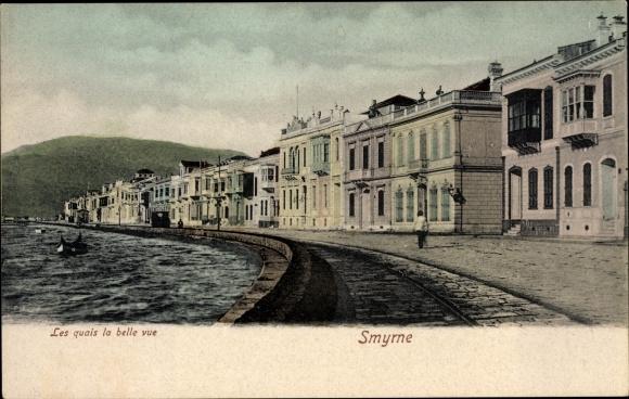 Ak Smyrna Izmir Türkei, Les quais la belle vue, Uferpromenade
