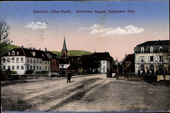 Ak Cernay Sennheim Elsass Haut Rhin, Schlachten August September 1914, Straßenpartie