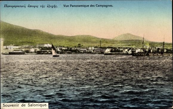 Ak Thessaloniki Griechenland, Vue panoramique des Campagnes