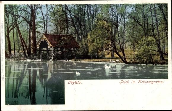 Ak Teplice Teplitz Schönau Reg. Aussig, Teich im Schlossgarten