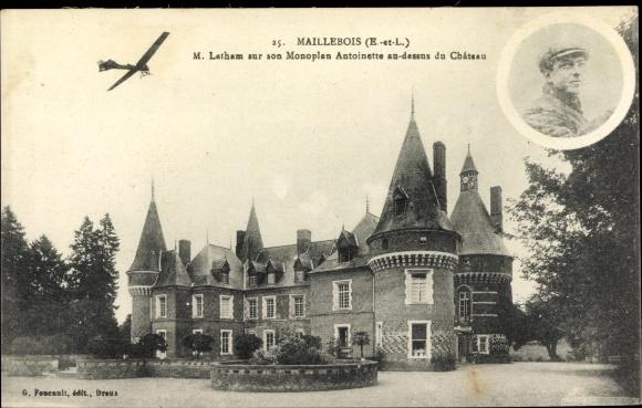 Ak Maillebois Eure et Loir, Latham sur son Monoplan Antoinette au dessus du Château