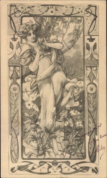 Jugendstil Künstler Ak Pinkawa, Anton, Frauenportrait, Munk Nr 122