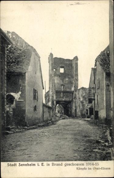 Ak Cernay Sennheim Elsass Haut Rhin, Kriegszerstörungen, I. WK