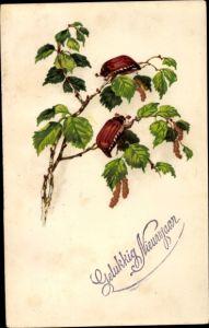 Ak Glückwunsch Neujahr, Gelukkig Nieuwjaar, Maikäfer auf einem Birkenast