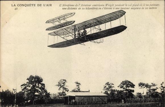 Ak L'Aéroplane de l'Aviateur américain Wright, Flugzeug, Luftfahrtpionier