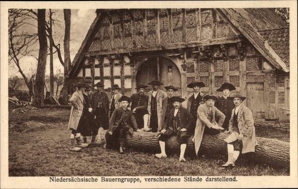 Ak Gehrde in Niedersachsen, Schützenfest 1924, Bauerngruppe, verschiedene Stände darstellend
