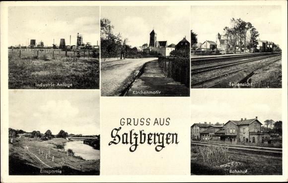 Ak Salzbergen in Nordrhein Westfalen, Stadtansichten, Industrieanlage, Kirche, Bahnhof