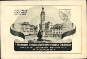 Ak Gera in Thüringen, 1. Briefmarken Ausstellung 21. August 1937