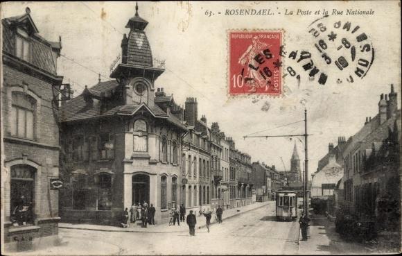 Ak Rosendaël Nord, La Poste et la Rue Nationale, Straßenbahn